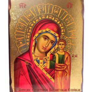 Χρυσοτυπία σε ξύλο, με γυαλιστερό βερνίκι και χρώμα μπορντό Βυζαντινών αποχρώσεων.